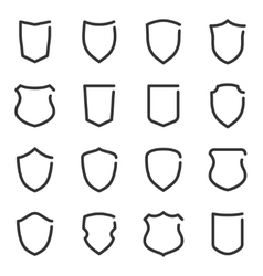Set of different shield outline icons vector image