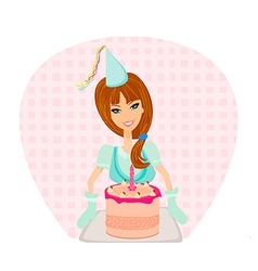 Birthday cake girl vector