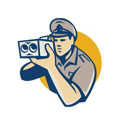 Policeman with police speed camera retro vector
