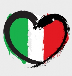 Italian heart shape flag vector