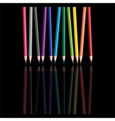 Colored pencils with reflection vector