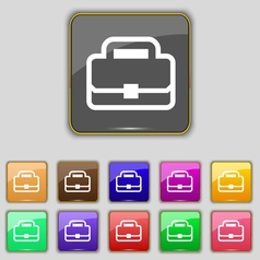 Briefcase icon sign set with eleven colored vector