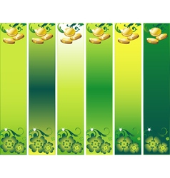 St patricks day banner set with leafs and money in vector