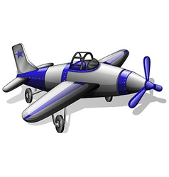 A vintage grey and blue coloured plane vector