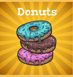 banner with colorful donuts vector image vector image