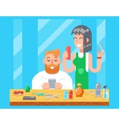 Barber hipster geek online mobile character male vector image