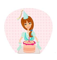 Birthday cake girl vector