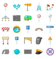 Bridgework icons set cartoon style vector