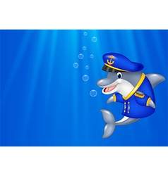 Cartoon Dolphin wearing captain uniform swimming i vector image vector image