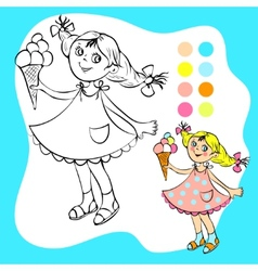 Coloring book - small pretty girl with ice cream vector image vector image