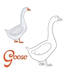 Educational game coloring book goose bird vector