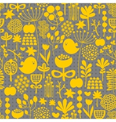 Floral seamless pattern with cute small birds vector