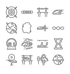 futuristic transportation line icon set vector image