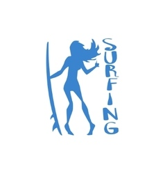 Girl Standing With Surfboard Print vector image vector image