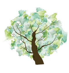 green summer paint textured art tree vector image