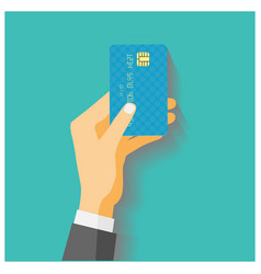 Hand hold credit card vector