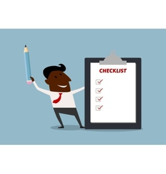 Happy businessman completing a checklist vector image