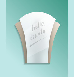 Hello beauty concept with bathroom misted mirror vector