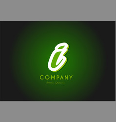 I alphabet letter logo green 3d company icon vector