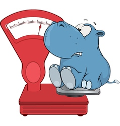 little hippo and a weighing scale Cartoon vector image