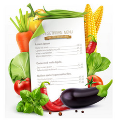 menu with vegetables vector image vector image
