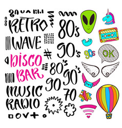 Modern lettering pop art stickers and signs vector