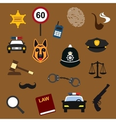 Police law and justice flat icons set vector