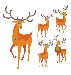 Reindeer christmas icon graceful deer collection vector