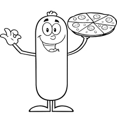 Sausage Cartoon with Pizza vector image