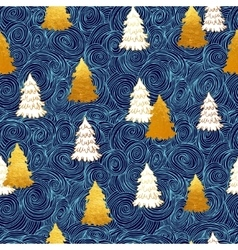 seamless pattern with New Year gold vector image