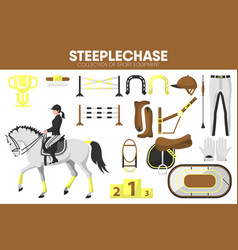 steeplechase sport equipment horse racing rider vector image vector image