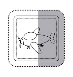 sticker silhouette square button cartoon airplane vector image