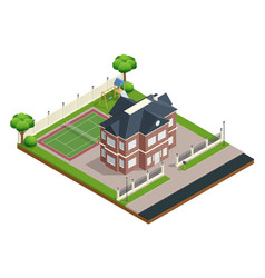 Suburb house composition vector
