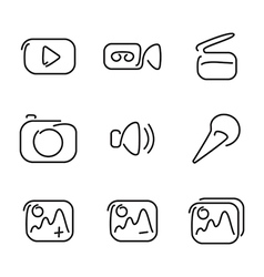 Video and multimedia set icons vector image