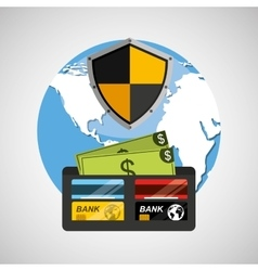 Wallet money banking safe shield protection vector
