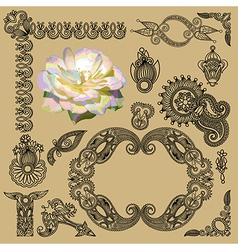 hand draw black flower and frame element vector image