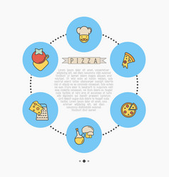 pizza concept with thin line icons for menu design vector image