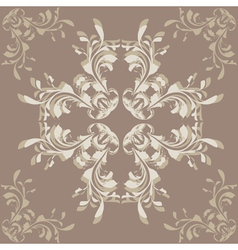 Brown background with flower ornament vector image