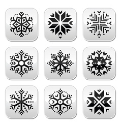 Snowflakes buttons set on black and white vector image