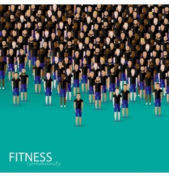 Flat of a large crowd of men fitness community vector
