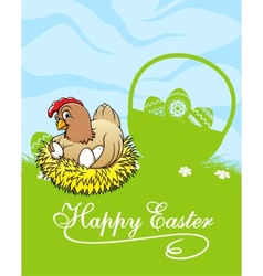 Happy easter card with hen and basket with easter vector