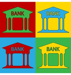 Pop art bank icons vector
