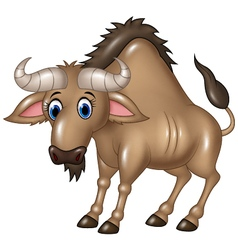Cartoon wildebeest mascot isolated vector