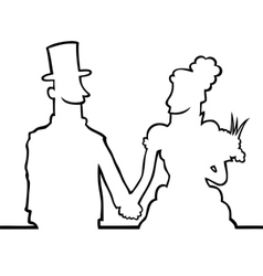 Bride and groom looking at eachother vector