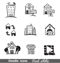 Doodles icons real estate vector