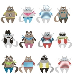 Cute dressed cats vector