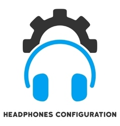 Headphones configuration flat icon with caption vector