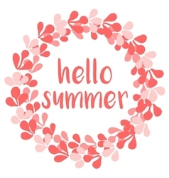 Hello summer wreath card isolated on white vector