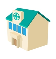 Hospital building icon cartoon style vector