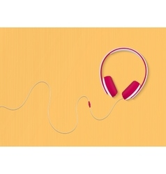 Modern style headphones on the yellow background vector image